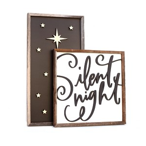 Silent Night + Gold stars – Christmas 2020 Set of 2